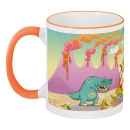 """Кружка с цветной ручкой и ободком """"Забавные динозаврики"""" - животное, динозавр, динозавры, динозаврики"""