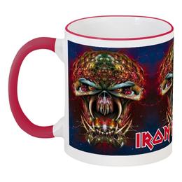 "Кружка с цветной ручкой и ободком ""Iron Maiden Band"" - heavy metal, iron maiden, хэви метал, eddie, nwobhm"