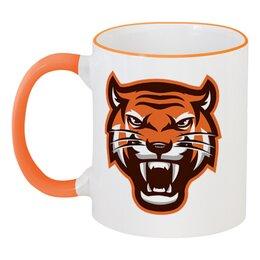 """Кружка с цветной ручкой и ободком """"Tiger"""" - кот, животные, природа, тигр"""