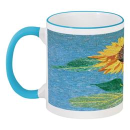 """Кружка с цветной ручкой и ободком """"Подсолнух"""" - подсолнух, sunflower"""