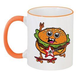 """Кружка с цветной ручкой и ободком """"Гамбургер с гитарой"""" - скейтборд, гитара, гамбургер, бургер"""