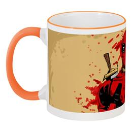 """Кружка с цветной ручкой и ободком """"Deadpool"""" - дэдпул, костюм, катаны, маска, кровь"""
