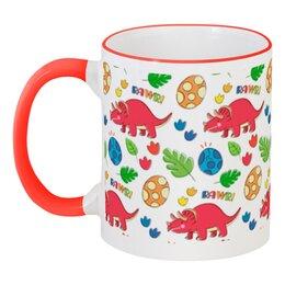 """Кружка с цветной ручкой и ободком """"Динозавры"""" - животные, динозавры"""