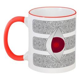 """Кружка с цветной ручкой и ободком """"Тилак шиваитский и шактистский"""" - символ, индуизм, шива, мехенди, шакти"""