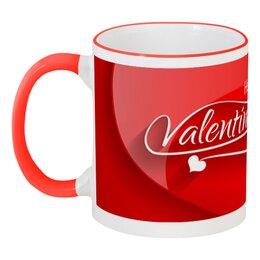 """Кружка с цветной ручкой и ободком """"Сердечки"""" - любовь, день святого валентина, сердечки, подарки, день влюблённых"""
