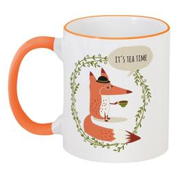 """Кружка с цветной ручкой и ободком """"Лиса с чаем"""" - чай, fox, лиса, лисица, tea"""