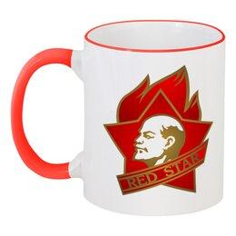 """Кружка с цветной ручкой и ободком """"Red star"""" - ссср, ленин, россия, красная звезда, всегда готов"""