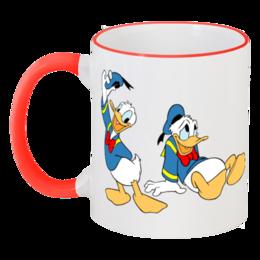 """Кружка с цветной ручкой и ободком """" кружка"""" - детям, donald duck, winnie the pooh"""