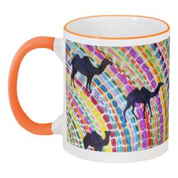 """Кружка с цветной ручкой и ободком """"Верблюды"""" - ярко, оригинально, этно"""