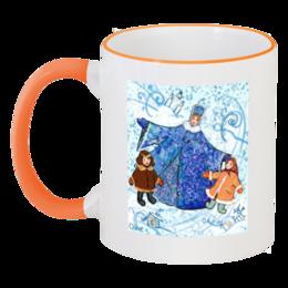 """Кружка с цветной ручкой и ободком """"Зимние забавы"""" - зима, мальчик, дети, снег, апельсин, девочка, сказка, рождество, масленица, акварель"""