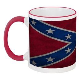 """Кружка с цветной ручкой и ободком """"Флаг Конфедерации США"""" - война, америка, флаг, сша, флаг конфедерации"""
