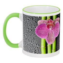 """Кружка с цветной ручкой и ободком """"Елена"""" - цветы, 8 марта, стильный, орхидея"""