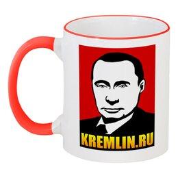 """Кружка с цветной ручкой и ободком """"Путин"""" - россия, russia, putin, president, oper"""