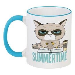 """Кружка с цветной ручкой и ободком """"Угрюмый кот"""" - кот, кошка, лето, summertime, летнее время"""