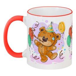 """Кружка с цветной ручкой и ободком """"Мишка Тэдди"""" - медвежонок, игрушка, праздничный, подарочный, мишка тэдди"""