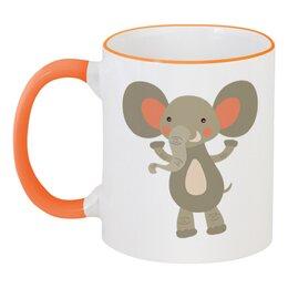 """Кружка с цветной ручкой и ободком """"Весёлый слоник"""" - животные, слон, слоник"""