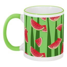 """Кружка с цветной ручкой и ободком """"Арбуз"""" - полоска, красный, зеленый, арбуз, семена"""