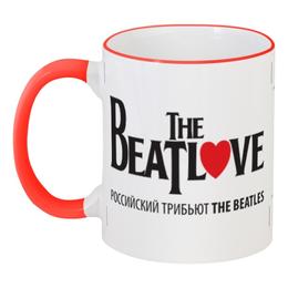 """Кружка с цветной ручкой и ободком """"Beatlove"""" - beatles, beatlove, трибьют beatles"""