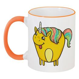 """Кружка с цветной ручкой и ободком """"Единорог"""" - лошадь, пони, единорог, лошадка, мифы"""