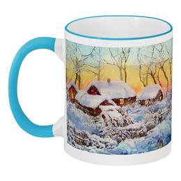 """Кружка с цветной ручкой и ободком """"Зимний пейзаж."""" - зима, снег, пейзаж, живопись"""