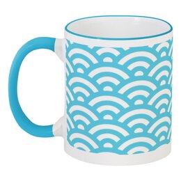 """Кружка с цветной ручкой и ободком """"Морская волна."""" - море, волна, абстракция, вода"""