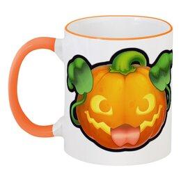 """Кружка с цветной ручкой и ободком """"Тыковка!"""" - тыква, хеллоуин, pumpkin"""
