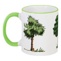 """Кружка с цветной ручкой и ободком """"Сказочный лес"""" - рисунок, деревья, природа, иллюстрация, скетч"""