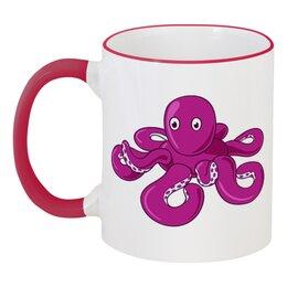 """Кружка с цветной ручкой и ободком """"Осьминожка"""" - осьминог, надувная игрушка"""