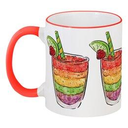 """Кружка с цветной ручкой и ободком """"Фруктовая"""" - фрукты, стакан, напитки, коктейль, соки"""