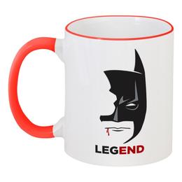 """Кружка с цветной ручкой и ободком """"Бэтмен (Batman)"""" - batman, бэтмен"""