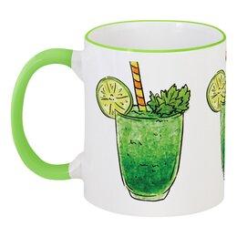 """Кружка с цветной ручкой и ободком """"Фруктовая"""" - напитки, коктейль, бокал, соки, фруктовый"""