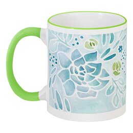 """Кружка с цветной ручкой и ободком """"Ботаника"""" - лето, цветы, природа, растения, ботаника"""