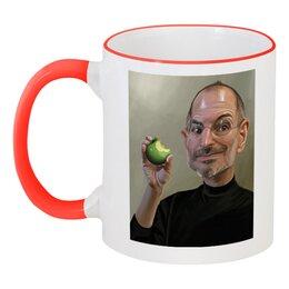 """Кружка с цветной ручкой и ободком """"Сти́вен Пол Джобс ."""" - apple, iphone, айфон, стив джобс"""