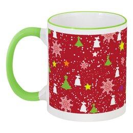 """Кружка с цветной ручкой и ободком """"Happy New Year (Счастливый Новый Год)"""" - happy new year, подарок, дед мороз, елка, merry cristmas"""