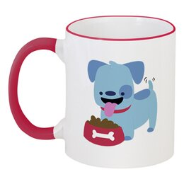 """Кружка с цветной ручкой и ободком """"Смешная собака"""" - щенок, собака, 2018, год собаки, косточка"""