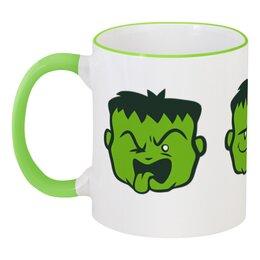 """Кружка с цветной ручкой и ободком """"Зелёный монстр"""" - монстр"""