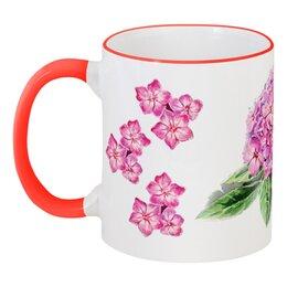 """Кружка с цветной ручкой и ободком """"Розовый флокс"""" - цветы, розовый, флокс, вподарок, розовыецветы"""