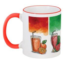 """Кружка с цветной ручкой и ободком """"Фруктовая"""" - фрукты, апельсин, напитки, коктейль, соки"""