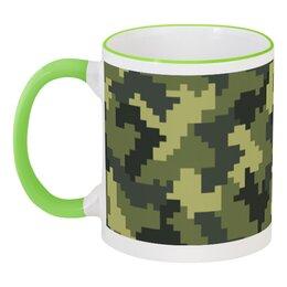 """Кружка с цветной ручкой и ободком """"Камуфляж"""" - 23 февраля, армия, камуфляж, военный, защитник отечества"""