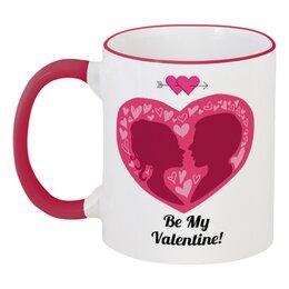 """Кружка с цветной ручкой и ободком """"День святого Валентина"""" - сердца, день святого валентина, 14 февраля, пары, день влюблённых"""