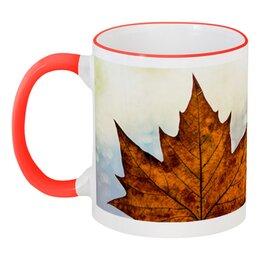 """Кружка с цветной ручкой и ободком """"Осень"""" - осень, подарок, золотая осень, осенняя пора, золотые деревья"""