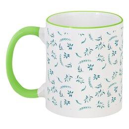 """Кружка с цветной ручкой и ободком """"Утро нового дня"""" - весна, зеленый, травы"""