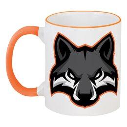 """Кружка с цветной ручкой и ободком """"Wolf / Волк"""" - арт, животные, черный, волк, wolf"""