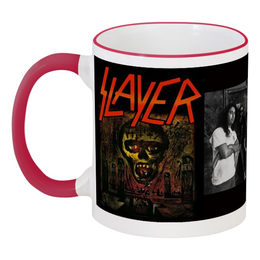 """Кружка с цветной ручкой и ободком """"Slayer-Season In The Abyss 1990"""" - рок, чай, металл, slayer, thrash metal"""