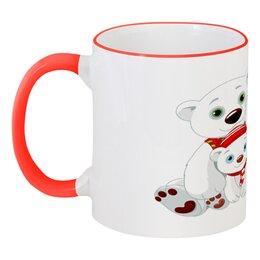 """Кружка с цветной ручкой и ободком """"Белые медведи"""" - животные, медведь, снежинки, белый медведь, полярные медведи"""