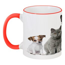 """Кружка с цветной ручкой и ободком """"Животные"""" - животные, кошки, коты, собаки, щенки"""