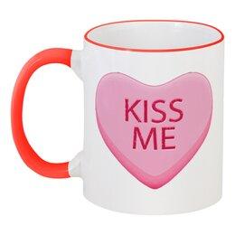 """Кружка с цветной ручкой и ободком """"Поцелуй меня"""" - сердце, любовь, 14 февраля, kiss me, день влюблённых"""