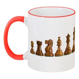 """Кружка с цветной ручкой и ободком """"Белые и черные"""" - спорт, прикольные, фигуры, шахматы"""