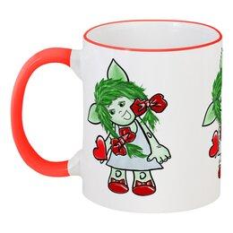 """Кружка с цветной ручкой и ободком """"Девочка-тролль с сердечком"""" - день святого валентина, подарок, дар, день влюбленных, тролли"""