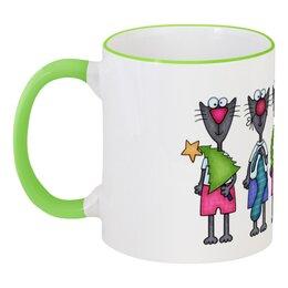 """Кружка с цветной ручкой и ободком """"Новогодние коты"""" - звезда, рога, елка, колпак, носок"""